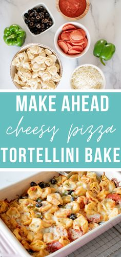 This tortellini bake is easy, delicious, and kid friendly!! It's the perfect twist to the classic pizza dish, and will easy become your families new favorite!! #easy #freezerfriendly #kidfriendly #makeahead | happymoneysaver.com Vegetarian Freezer Meals, Freezer Friendly Meals, Healthy Freezer Meals, Freezer Cooking, Frugal Meals, Easy Weekday Meals, Easy To Make Dinners, Easy Weeknight Meals, How To Make Tortellini