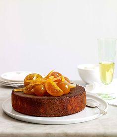 Orange, cardamom and almond cake with orange-blossom yoghurt - Gourmet Traveller