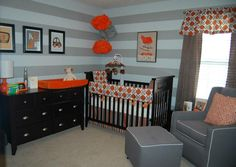 Orange, Grey, and Brown Nursery.  Glenna Jean Echo Crib Bedding.