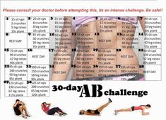 30-day AB workout challenge!! :D Can't wait to try!