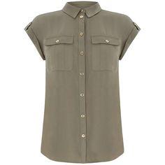 Oasis Soft Safari Shirt (£35) ❤ liked on Polyvore featuring tops, blouses, women tops, safari shirt, brown blouse, polyester shirt, shirt blouse and cut loose shirt