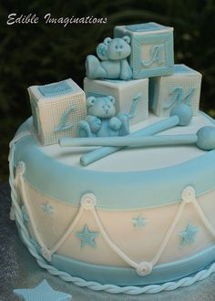 A fondant covered Christening cake decorated to look like a drum with drum sticks, building blocks and teddy bears on the top Baby Shower Sweets, Baby Shower Cakes For Boys, Baby Boy Shower, Christening Cake Boy, Christening Cakes, Boy Baptism, Fancy Cakes, Cute Cakes, Drum Cake