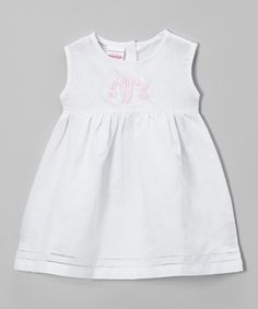 Look at this Cotton Candy Cottage White & Pink Monogram Linen-Blend Dress - Infant & Toddler on #zulily today!
