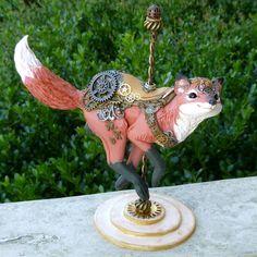 Polymer Clay handmade Steampunk Carousel Fox sculpture by MysticReflections