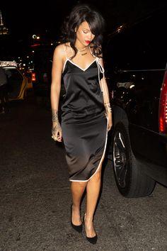 Rihanna in #ADAMSELMAN #black and #white silk  dress, #NewYork.
