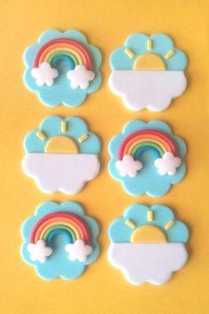 Details about 12 Fondant Rainbow Cupake Topper - 6 Rainbow, 6 Sun OR 12 Rainbow - Fondant - Cupcakes Fondant Cupcakes, Fondant Toppers, Cupcake Cookies, Fondant Rainbow, Rainbow Cupcakes, Rainbow Cookie, Cupcakes Design, Fondant Figures, Deco Cupcake