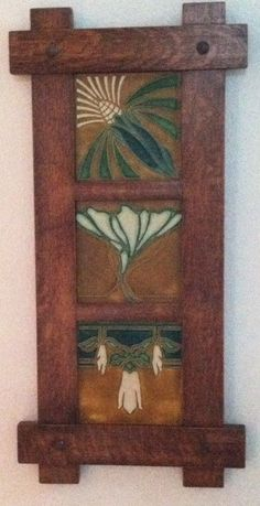 Arts and Crafts Triple Motawi Tiles in Craftsman Oak Frame