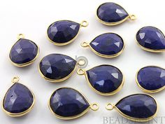 Natural Dyed Sapphire Bezel Baby Pear Shape Gemstone by Beadspoint, $5.99