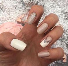 beige-and-white-nails via More #artideas