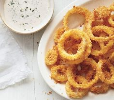 Baked Onion Rings With Chipotle Ranch Dressing**** SO GOOD! Must double the recipe next time!