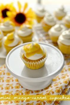 Who'd love one of these Mini Mango-Carrot Cupcakes? Read how they're made on Delish Dish: http://www.bhg.com/blogs/delish-dish/2013/04/24/in-season-eats-mini-mango-carrot-cupcakes/