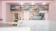 Local architects Studio Sur Rue have designed a pastel pink deli in the 10th arrondissement of Paris that is dedicated to hummus and Israeli dining culture.