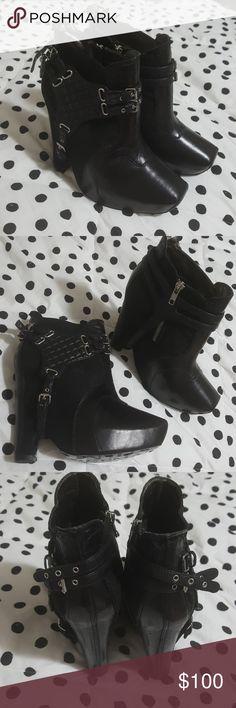 SAM EDELMAN • zoe booties New Sam Edelman • zoe platform wedge booties • us size 8 • detachable harness • approx 5 inch heel with approx 1.25 inch platform • unworn Sam Edelman Shoes Ankle Boots & Booties