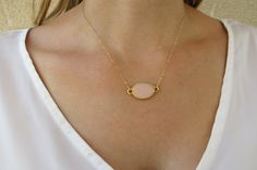 Gold necklace Oval pendant necklace Fashion by RomisJewelry, $32.00