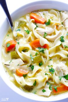 Skinny Creamy Chicken Noodle Soup | gimmesomeoven.com (Italian Chicken Noodles)