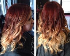 Red and blonde balayage ombré #ombre #balayage #bellamisalon