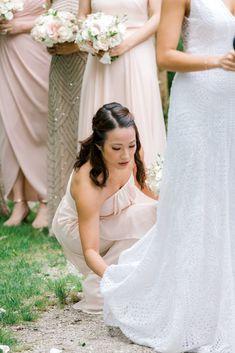 Blush bridesmaids Spring Day, Wedding Styles, Bridesmaids, Wedding Day, Blush, Elegant, Wedding Dresses, Floral, Hair