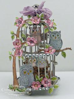 Candy Slabaugh creates an altered cage featuring #HeartfeltCreations #Owls #ArtGlitter # #Prills #Copics