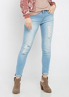 Light Blue Destroyed Cropped Jegging | rue21