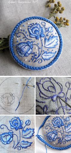 Embroidered line brooch a'la Russe. Click on image to see step-by-step tutorial
