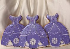 12 Sofia the First dress cookie (large)/ Princess Party by The Sweetest Thing Designs & Events on Etsy, $72.00