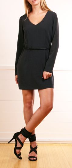 Black V-Neck Dress.