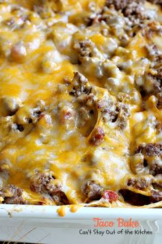 Taco Bake is a Tex-Mex casserole with layers of corn chips, beef filling with diced tomatoes & chilies, sour cream & a cheese layer. So quick & easy too.