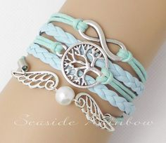 Mint green Infinity wish tree braceletPearl by SeasideRainbow,