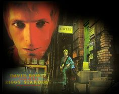 """""""The Rise and Fall of Ziggy Stardust and the Spiders from Mars"""". Photography by Brian Ward. 23 Heddon Street, London (January 1972)."""