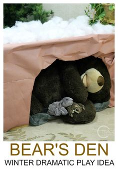 After reading the book Bear Snores On, we turned our preschool dramatic play area into a winter bear's den! #winter #dramaticplay #pretendplay #classroom #preschool #toddlers #teachers #AGE2 #AGE3 #AGE4 #hibernation #bears