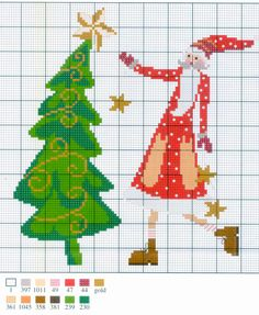 ru / Photo # 176 - 2014 b - ergoxeiro Christmas Tree Pattern, Christmas Cross, Xmas Tree, All Things Christmas, Christmas Ornaments, Santa Cross Stitch, Cross Stitch Charts, Cross Stitch Patterns, Cross Stitching