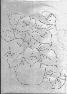 Peace Lily/ Spathe - Fabric painting, painting on canvas, risks and drawings to paint and handicrafts Painting Patterns, Fabric Painting, Hand Embroidery, Embroidery Designs, Flower Embroidery, Flower Sketches, Pintura Country, Applique Patterns, Colouring Pages