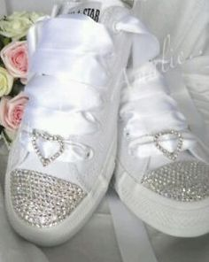 converse wedding shoes | Details about Wedding shoes converse bling trainers pumps