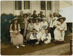 Three eldest children of the last Tsar Nicholas II., Grand Duchesses Olga (1895-1918), Tatiana (1987-1918) and Maria (1899-1918) in 1901. Originally black and white image coloured by me.