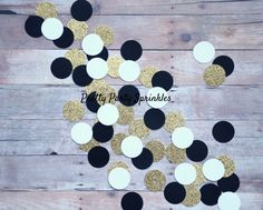 Black White and Gold Decor Glitter Confetti, Gold Decorations, Great Gatsby 40th Birthday, New Years Eve Gold Hollywood Glamour, Anniversary