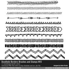 Doodledo Borders Brushes and Stamps No. 02- Katie Pertiet Brushes- DS322527- DesignerDigitals