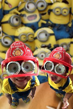 Step 13: Or stick the minion goggles to the inside of a fire chief's helmet and give your kids a yellow T-shirt and pair of blue denim dungarees (changed one of the eyes to green so they could be Bob)