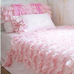 Pink Waterfall Ruffled Bows Bedding Set(Duvet cover, 2 pillow shams). $269.00, via Etsy.