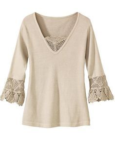 accent a plain top with lace or crochet