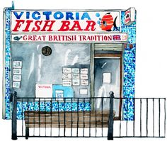 Eleanor Crow's East End Fish Shops (click through for an entire series of lovely pieces)