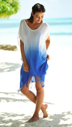Coco Bay's beautiful Seafolly Byron Cover Up in China Blue.
