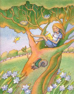 Reading Tree illustration by:Linda Prater -- via childrensillustrators - the fastest method of sourcing children's illustrators online