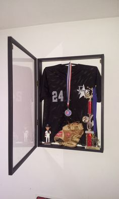 Jersey Display Case Frame Shadow Box Football Hockey Baseball Deep Black Wood…
