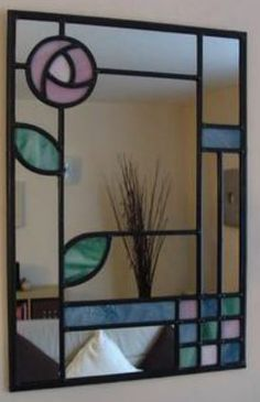 mackintosh rose leaded mirror Stained Glass Mirror, Stained Glass Birds, Mirror Mosaic, Stained Glass Designs, Stained Glass Projects, Stained Glass Patterns, Stained Glass Windows, Mosaic Glass, Contemporary Stained Glass Panels