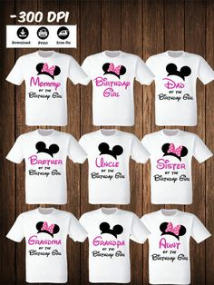 Disney Family Mickey Minnie Mouse Set Of 9 Iron On Transfers Matching Shirts Birthday By