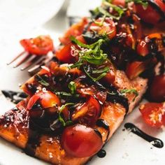 Quick and simple, honey balsamic bruschetta salmon has incredible flavors and requires just 30 minutes of hands-on cooking time. An instant favorite for salmon lovers! This is heaven on a plate I t Salmon Recipes, Fish Recipes, Seafood Recipes, Cooking Recipes, Healthy Recipes, Cooking Time, Gourmet Dinner Recipes, Salmon Dishes, Fish Dishes