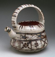'Ewer with Floral and Striped Design' Edo period (1615–1868), Japan, Stoneware with underglaze iron brown (Mino ware, Shino-Oribe type).