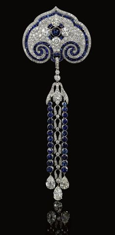 Sapphire and Diamond Brooch-Pendant Circa 1910