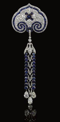 Sapphire and Diamond Brooch-Pendant Circa 1910