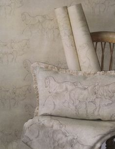 Accomplished equine artist Jo Taylor drew this work especially for Lewis and Wood in two subtle   and approximately named colour ways -Bay and Grey. Perfect for any equestrian themed room scheme.